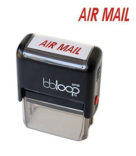 """BBloop Stamp""""AIR Mail"""" Self-Inking, Rectangular. Laser Engraved. RED"""