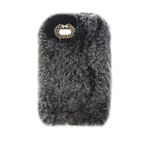 iPod Nano 7 Case,Super Deluxe Luxury Faux Rabbit Fur Fuzzy Plush Beaver Rex Rabbit Hair Fur Case for Apple iPod Nano 7th & 8th Generation (Bowknot Gray)