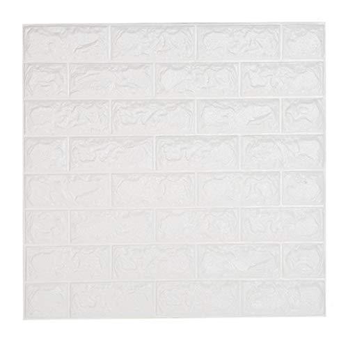 10 PCS Ladrillo 3D Adhesivo Pared Blanco, DIY Papel Pintado Pared Decorativo Autoadhesivo Impermeable 60 CM x 60 CM