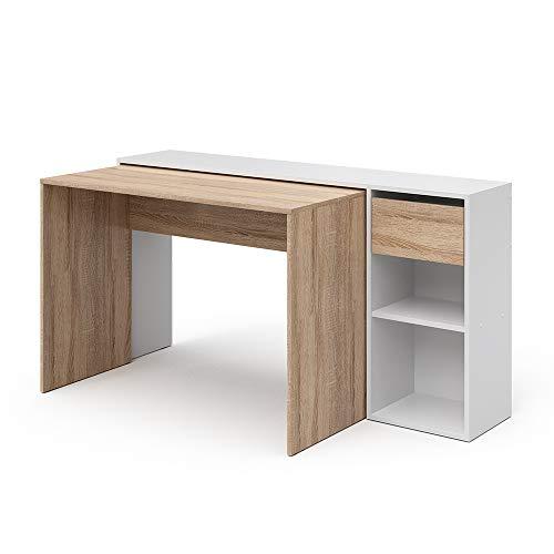 Vicco Schreibtisch Ben Computertisch ausziehbar Arbeitstisch Bürotisch (Weiß-Sonoma)
