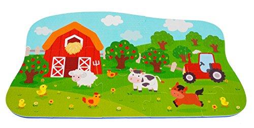 Bieco Puzzlematte, 25 Teile | Spielmatte Baby | XXL Puzzle Kinder | Krabbeldecke Baby Spielmatte Kinder| Turnmatte Kinder | Kinder Teppiche | Krabbelmatte Baby | Spielteppich Junge | Tiere Spielzeug