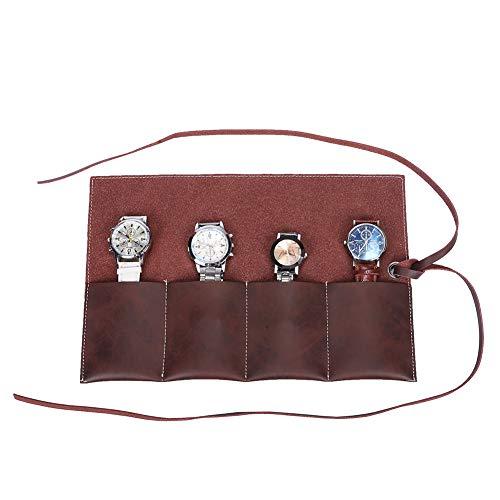 QEES Rolltasche für 4 Armbanduhren aus Leder Reisetasche Werkzeugtasche mit elegantem Design Werkzeugrolltasche HYGJB12 (Braun)
