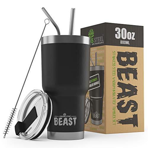 BEAST Edelstahl Becher Vakuumisolierte Tasse Kaffeebecher Doppelwandige Reiseflasche Thermobecher mit Spritzfestem Deckel, Paket mit 2 Strohhalmen, Rohrbürste & Geschenkbox (30oz, Schwarz)