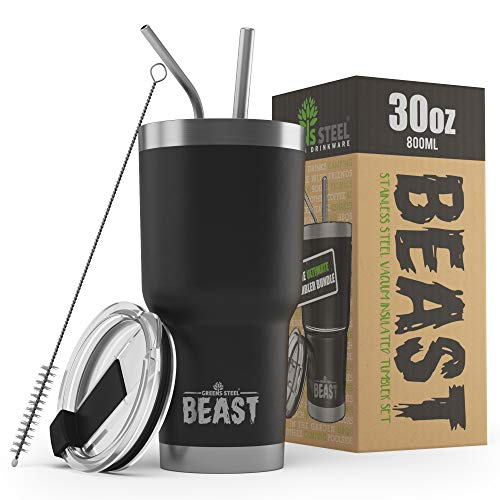 BEAST 30oz Black Tumbler - Stainless Steel Vacuum Insulated Coffee Cup Double Wall Travel Flask