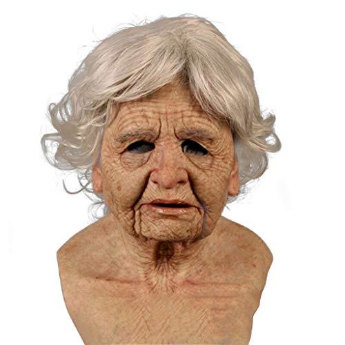 DreamedU Halloween Maske Camouflage Goblin Lustige Gesicht Kostüme für Cosplay Party Spielen Requisiten Masken Erwachsene Alte Dame Maske Gruselige Falten Gesichtsmaske Latex