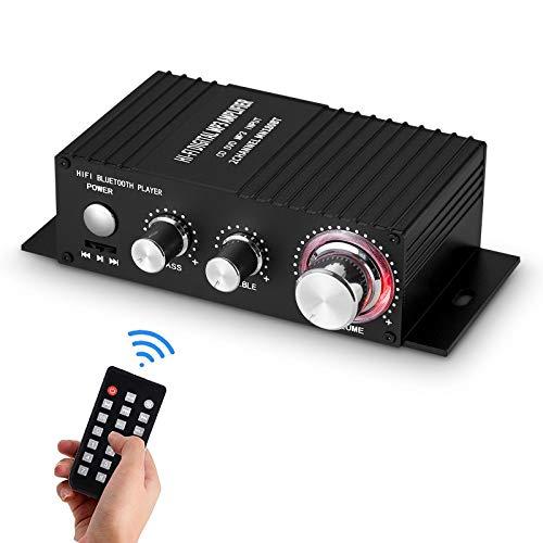Miniamplificador de audio Bluetooth con amplificador estéreo, mando a distancia, USB, con fuente de alimentación