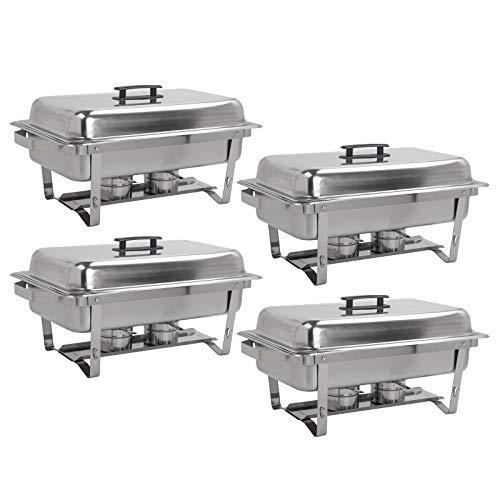 Dawoo 9L Rechteckiger Chafing Dish Profi Set, Edelstahl Warmhaltebehälter, 15-TLG Speisewärmer, Wärmebehälter, Rechaud, Chafing Dishes, Speisenwärmer Buffet und Party(4 PACK)