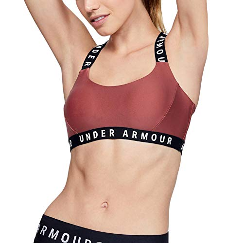Under Armour UA Womens Wordmark Strappy Gym Sports Bra - Coral - S