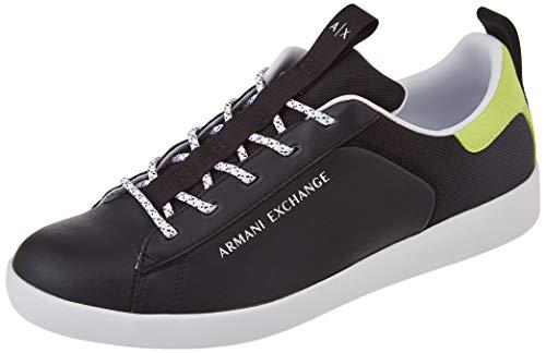 Armani Exchange Herren Berlin Casual Low TOP Sneaker, Black+Lime, 39 EU