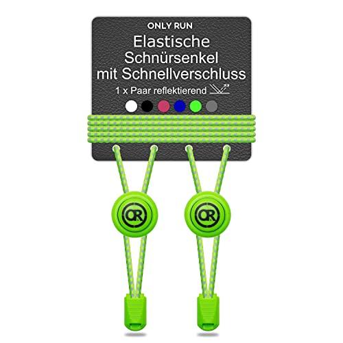ONLY RUN Elastische Schnürsenkel ohne Binden mit Schnellverschluss perfektes Schnellschnürsystem für Kinder und Erwachsene - Schuhbänder - Gummischnürsenkel ohne Binden (1 Paar refl. neon grün)