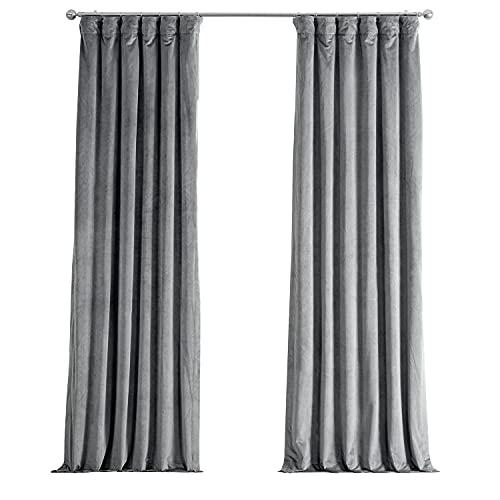 HPD Half Price Drapes VPCH-145002-108 Signature Blackout Velvet Curtain (1 Panel), 50 X 108, Silver Grey
