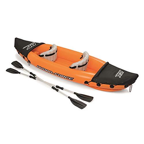 カヤックカヌーインフレータブルカヤック2人乗り手動ポンプ付き取り外し可能のパドル2本付属ゴムボートアウトドア修理キット付きプロ初心者
