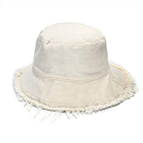 boderier Sun Hats for Women Summer Casual Wide Brim Cotton Bucket Hat Beach Vacation Travel Accessories (Beige)