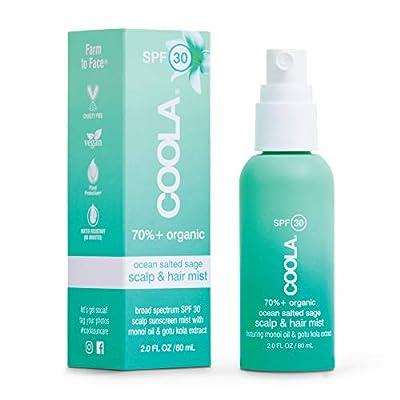 COOLA Organic Scalp & Hair Sunscreen Mist, Broad Spectrum SPF 30, Reef-Safe, Ocean Salted Sage, 2 Fl Oz