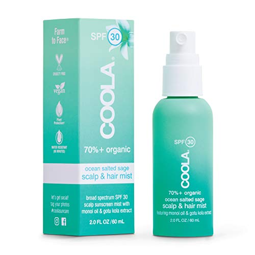 COOLA Organic Scalp & Hair Sunscreen Mist, Broad Spectrum SPF 30, Reef-Safe, Ocean Salted Sage, 2 Fl Oz