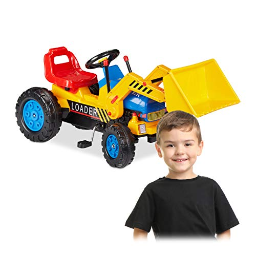 Check Out This Relaxdays 10026441 Ride-on Digger, Tractor with Front-Loader, Front & Back Coupling, ...