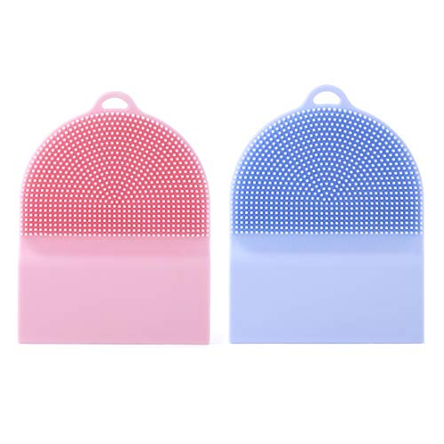 2pcs Household Silicone Dish Sponge with Scraper Durable Non Stick Cleaning Kitchen Brush for Your Dish Pot Pan Bowl Wash Fruit and Vegetable