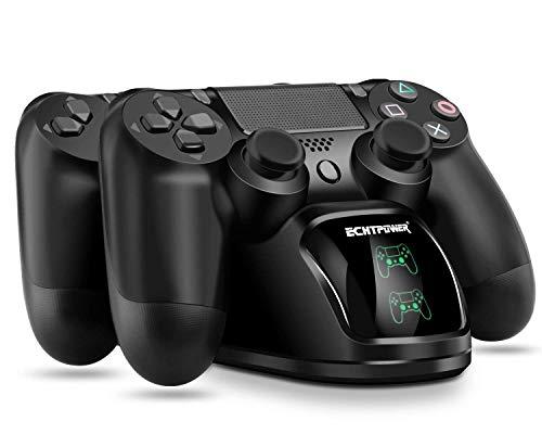 ECHTPower Cargador Mando PS4, Estación de Carga USB, Protección Inteligente con LED Indicador para Sony Playstation 4 / PS4 / PS4 Pro / PS4 DualShock Gamepad(Nuevo Modelo 2019)
