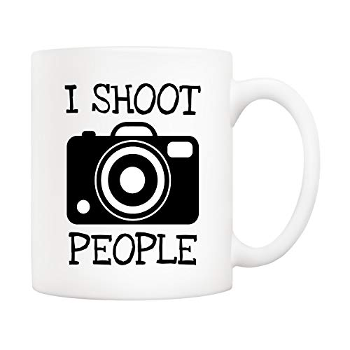 5Aup Funny I Shoot People Photographer Coffee Mug, Birthday Men Gifts for Photography Lover Cup White, 11 Oz