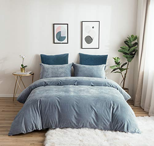 PHF Velvet Duvet Cover Set King Size 3 Pieces Cozy Soft Solid Bedding Set Home Decoration Heavyweight Warm Light Blue/Grayish Blue