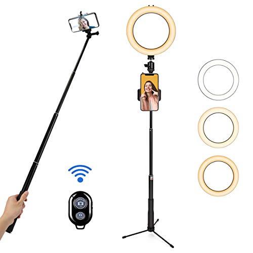 BLOOMWIN Luce ad Anello LED, 8' Ring Light Dimmerabile con Bastone Selfie Supporto di Cellulare Treppiedi Bluetooth e Telecomando, Luce Anulare per Fotografia/Video/Youtube/Trucco