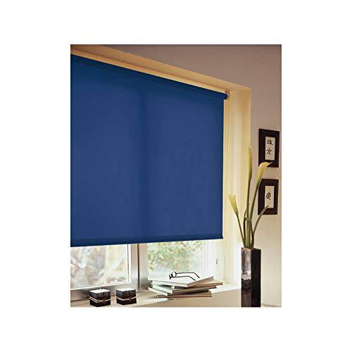 Madecostore rolgordijn, lichtdoorlatend, stof, eenkleurig, marineblauw - L 94 x H 250 cm - met boren
