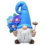Simmpu Sin Rostro Estatuas Jardín, Magia Gnomo Jardin Figura Resina Decoraciones Hecha Mano Estatuas Jardín Parque Césped Balcón Terraza (Azul)