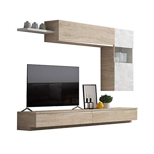 Tousmesmeubles Composition TV Bois Clair/Marbre Blanc - Camelia n°1 - L 270 x l 35 x H 175 - Neuf