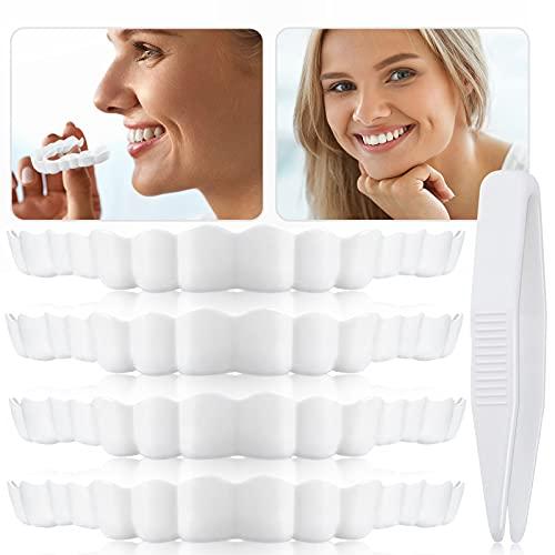 Veneers Dentures Fake Teeth Serrated Denture Teeth Top Fake Teeth with Mini Tweezers for Men and Women (5 Pieces)