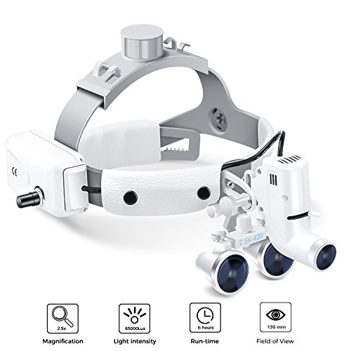 Dental Surgical Binocular Headband Loupes with Headlights,...