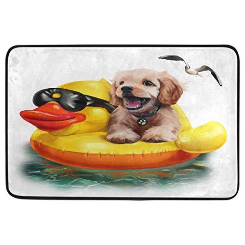 Joe-shop Puppy Floats Alfombrillas de Pato hinchables Dog Puppy Alfombrilla de Piso Entrada Exterior al Aire Libre Baño Felpudo Felpudos Decoración para el hogar 60x39 Pulgadas
