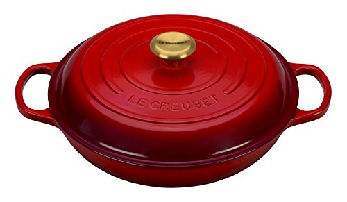 Le Creuset Enameled Cast Iron Signature Braiser, 3.75 quart, Cerise (Cherry Red)