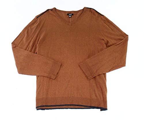 Alfani Men's Tipped V-Neck Sweater, Cognac Heather, Small