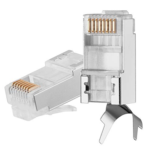 Quilence Cat7 Cat6A Connectors with Double Assembly Design Gold Plated Shielded RJ45 Modular Plug for 23AWG Solid and Stranded Cat7 Cat6A Cable 50u Gold Plated – 25Pack