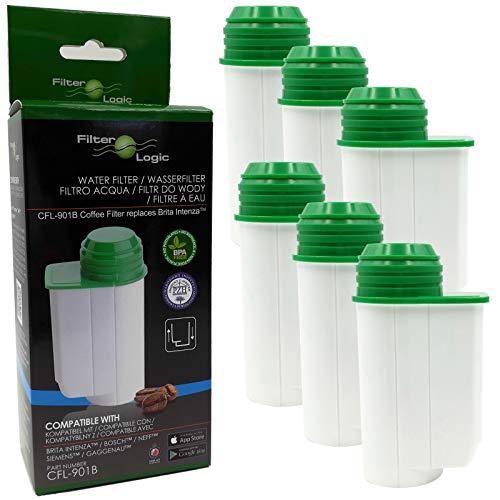 6x FilterLogic CFL-901B filtre à eau remplace BRITA Intenza TCZ7003 - TCZ7033 - TZ70003-575491 - 467873-1016723 Cartouche filtrante pour Bosch/Siemens/Magimix/Panasonic - machine à café
