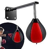 MATHOWAL Punchingball Boxen Boxbirne, Leder Swivel Box-Training für Home Office Gym, Speedball Druckentlastungsball An der Wand montierter Boxball ür Workout, Fitness, MMA Muay Thai