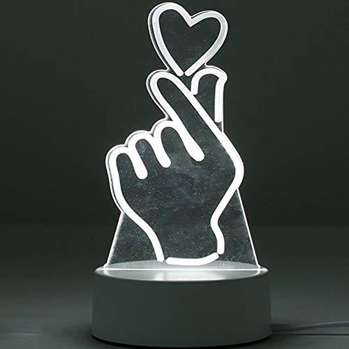 Lumières de bureau décoratives Led Night Light 3D Night Light Girl Than Heart Dream Cartoon Mini lampe de table de chevet enfichable Audio, un