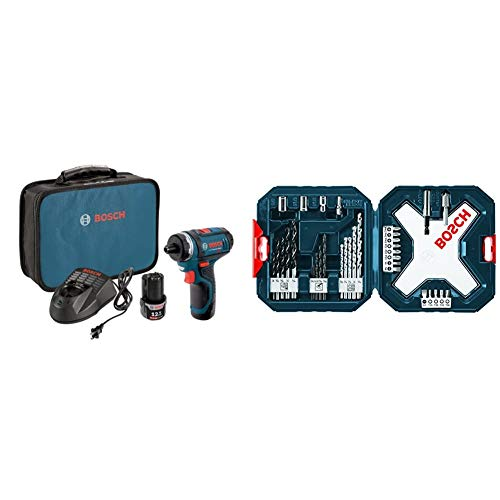 Bosch PS21-2A 12V Max 2-Speed Pocket Driver Kit with 2 Batteries, Charger and Case & MS4034 34-Piece Drill and Drive Bit Set