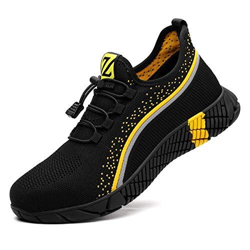 Zapatos de Seguridad Hombre Bambas de Seguridad Hombre y Mujer Bambas Punta de Acero Mujer Zapatillas de Trabajo con Punta de Acero Ultraligero(Naranja, 260)