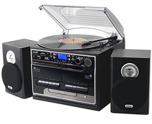 Steepletone SMC386r BT, 8 in 1 Retro Music System, Bluetooth, 3 Speed...