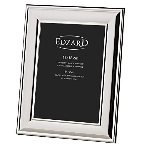 EDZARD Bilderrahmen Sunset für Foto 13 x 18 cm, edel versilbert, anlaufgeschützt, mit Samtrücken, inkl. 2 Aufhängern, Fotorahmen zum Stellen und Hängen