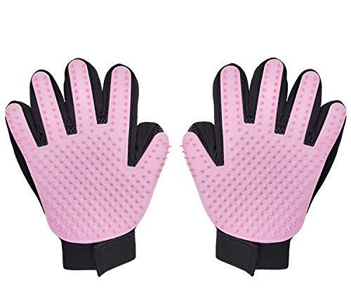 2019最新製品 ペット ブラシ グローブ 手袋型 259本 猫 ブラシ 1ペア ペット抜け毛取りグローブ 犬 クリーナー ブラッシング マッサージブラシ グルーミンググローブ(ピンク)