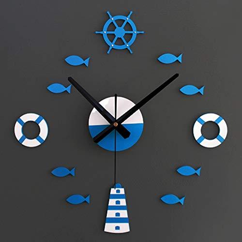 Tylyund Reloj de Pared Inicio DIY Adhesivo De Pared Relojes Salvavidas Barco De Mar Azul Tipo De Peces Relojes De Pared Habitación para Niños Regalos Decoración Niños Relojes De Marinero De Pa