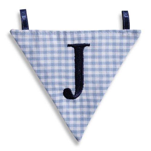 Hansekind Wimpel Wimpelkette mit Namen Buchstabe rosa od. blau Geschenk Taufe (J, Hellblau)
