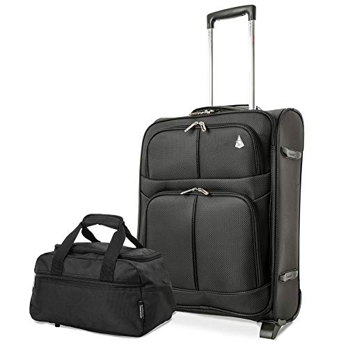 Aerolite easyJet British Airways Maximum Allowance 60L Lightweight 2 Wheel Travel Carry On Hand Cabin Luggage Suitcase (Black + Holdall 40x20x25cm)