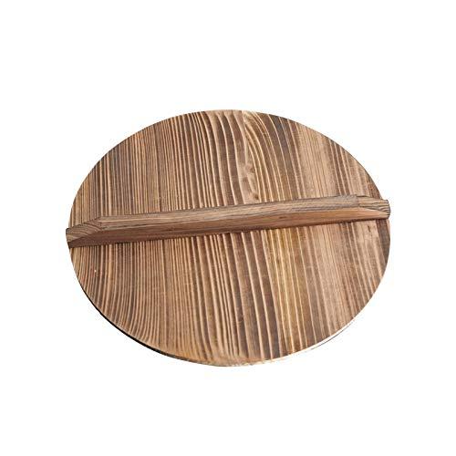 Tapa de madera de wok, tapa redonda de madera natural Wok tapa de madera con asa, tapa de wok de cedro ligera para sartén agitar, anti-caliente