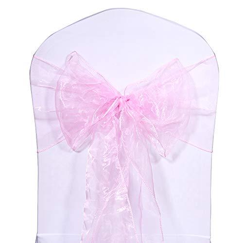 LUVODI 100PCS Organza Lazo para Silla Cinta Decorativa para Silla Cubiertas de Silla de Arco para Boda Fiesta Banquete Aniversario Navidad Color Rosa