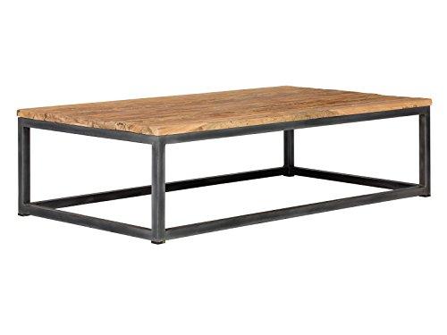 massivum Couch-Tisch Manchu 70x35x130 cm aus Teak-Holz massiv  geölt und Metall-gestell schwarz lackiert