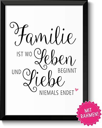 Familie ist wo Leben beginnt Bild im schwarzem Holz-Rahmen Geschenk Geschenkidee Muttertag Vatertag Muttertagsgeschenk Mama Papa Eltern