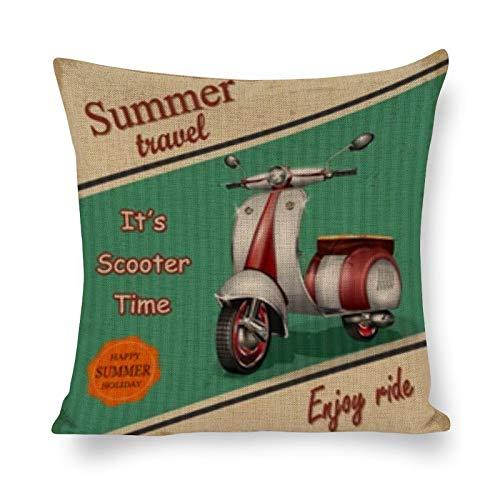 BONRI Funda de cojín de algodón y Lino, póster Retro de Viaje de Verano para Scooter (16'× 16') Fundas de Almohada Creativas con Cremallera